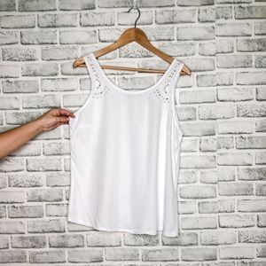 Tops - Embroidery White Tank
